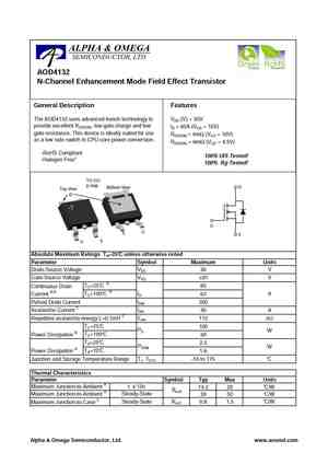 AOD413 D413 P-Channel MOSFET P-CH 40V 12A TO252 413 AOD413 Transistor TO252 AO