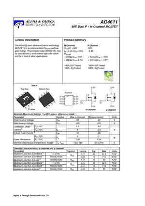 AO4611 MOSFET Datasheet pdf - Equivalent  Cross Reference Search
