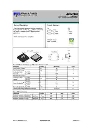 AON7408 MOSFET Datasheet pdf - Equivalent  Cross Reference