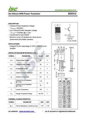 2SD313 Mospec Semiconductor Corporation 2SD313 Datasheet