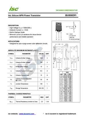 BU508D Silicone Diffused Power Transistor TO218 Package OM0147