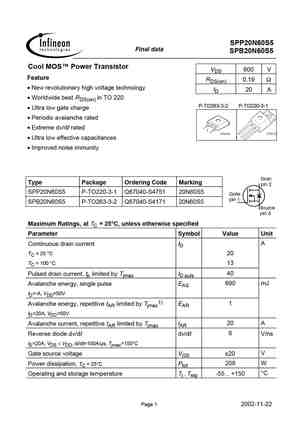 20n60 Mosfet Datasheet Pdf Equivalent Cross Reference