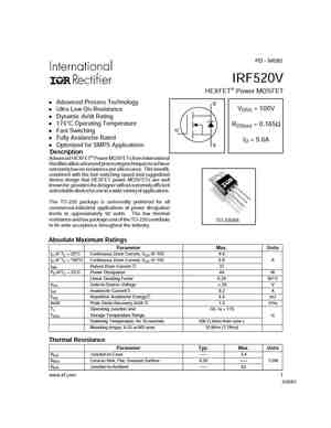 IRF520 MOSFET Datasheet pdf - Equivalent  Cross Reference Search