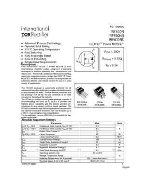 Irf630s datasheet irf630; irf630s; n-channel trenchmos (tm.