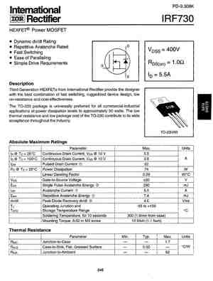 IRF730 MOSFET Datasheet pdf - Equivalent. Cross Reference Search