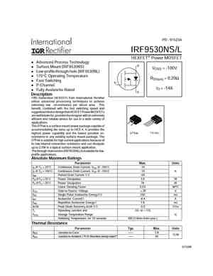 Irf9530n mosfet datasheet pdf equivalent. Cross reference search.