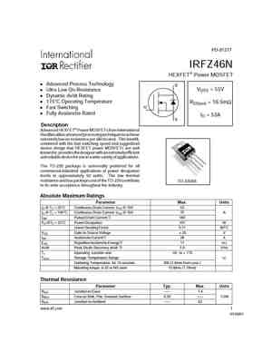 IRFZ46N MOSFET Datasheet pdf - Equivalent. Cross Reference Search