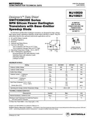 MJ10012 NPN Silicon Power Darlington Transistor BY MOTOROLA