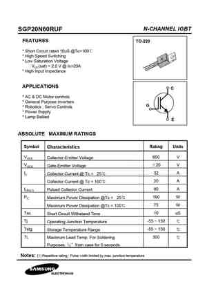 20N60 MOSFET Datasheet pdf - Equivalent  Cross Reference Search