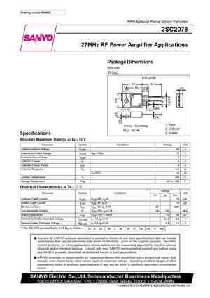 2SC2078 Datasheet, Equivalent, Cross Reference Search  Transistor