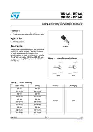 BD139 Transistor. Datasheet|pdf|Equivalent|Cross Reference Search
