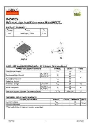 P4506BV MOSFET Datasheet pdf - Equivalent  Cross Reference