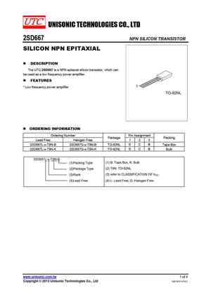 D667 datasheet, equivalent, cross reference search. Transistor catalog.
