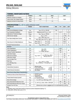 IRL540 MOSFET Datasheet pdf - Equivalent  Cross Reference Search