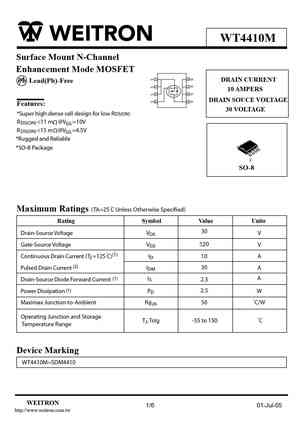4410 MOSFET Datasheet pdf - Equivalent  Cross Reference Search